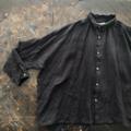ICHI Antiquites 東炊きリネンの長袖シャツ(BLACK GINGHAM)
