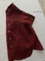 ギンガムフレンチリネンの半袖シャツ