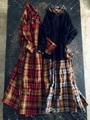 ICHI Antiquites リネンクラシックタータンのロングシャツドレス