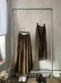 ICHI Antiquites 天然染料・手染めリネンのギャザースカート(ペチコート付)