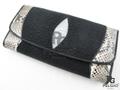 PELGIO★スティングレー・エイ革とパイソン革の長財布★黒色★三折