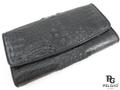 クロコダイル革の長財布★三折★黒色
