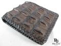 クロコダイル革★財布●茶色★縁編み