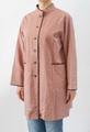着物リメイク-染紬ローズピンク笹柄-長袖ロングブラウス