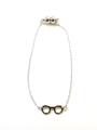 【ファッション、プレゼントとしても最適】ボストンクラブ眼鏡チャーム メタル/シルバー