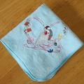 タオルハンカチ「文鳥とハート」水色(BCF0029)