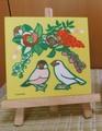 文鳥ファブリックパネル・正月(黄)シナモン/白(SAT2012)
