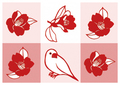 ポストカード「椿に白文鳥」(SAT0007)