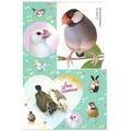 シール「文鳥とキンカチョウ」緑(BCF0027)