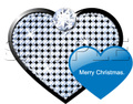 No424 クリスマス キラキラ ハート ダイヤモンド ブルー