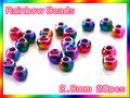ブラス ビーズ 虹色 20個セットBeads Rainbow 2.8mm