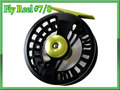 フライリール #7/8 ブラック&イエローグリーン 黒 ディスクドラグ付