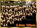 ブラス ビーズ Gold 100個セット Brass Beads 3.5mm