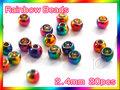 ブラス ビーズ 虹色 20個セットBeads Rainbow 2.4mm