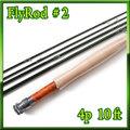 フライロッド #2 Fly Rod スペアティップ付 ダークグリーン ニンフ仕様 10ft