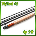 フライロッド #5 Fly Rod スペアティップ付 ブラック&グレー 9ft 4ピース