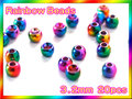ブラス ビーズ 虹色 20個セットBeads Rainbow 3.2mm