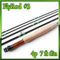 フライロッド #3 Fly Rod スペアティップ付 ブラック 7ft 6in 4ピース
