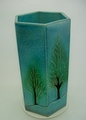 信楽焼 ブルーガラス木立六角傘立