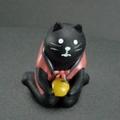 冬のまったりマスコット黒猫 はんてん・みかん