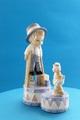 ポーセリン人形 男の子と犬