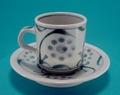 砥部焼 太陽柄の切立コーヒーカップ&ソーサー 梅山窯