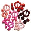 特別企画♪マーブルボタン6ミリ&フラワーバックルセット(ピンク系)