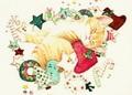 【tei04】A3サイズ square サンタの夢みる猫