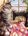 【1-47】A3 手芸好きな猫とミシン