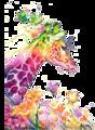 【1-193】A4サイズ カラフルな麒麟と蝶