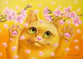 A3(四角)黄色猫★フルダイヤモンドアート