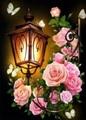 【8-4】A3サイズsquare 薔薇とレトロなガーデンライト