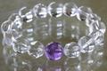 超活性!キラキラ透明アメジスト水晶ブレスレット12mm玉【高品質・超透明・光沢】