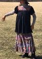 マヤ アグアカテナンゴ村ブラウス 黒地 半袖