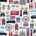 【Makower UK/英国直輸入生地】ロンドン ファブリック「London Icons」50cm~1m