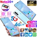 8 + 512GBの大容量メモリを搭載したスマートフォンNote20 + 4Gネットワークをサポートする6.7インチ携帯電話顔のロック解除デュアルSIMカード