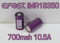 efest Purple IMR 18350 High Drain 10.5A Battery Flat top