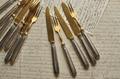 【1399】ミネルバ刻印 純銀&真鍮のナイフ&フォーク
