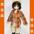 ◆受注品◆七分袖チェクシャツ オレンジ茶系