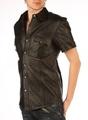 ラム革製■ポリスデザイン半袖シャツ