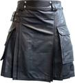 牛革製■キルトプリーツ/ラップスカート(メンズ)