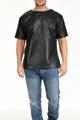 メンズ■ラム革製■通気性良好!パンチング加工Tシャツ/リラックスフィット