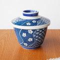 ねじり祥瑞柄藍色花紋青海波菱紋のレトロ茶碗蒸し器