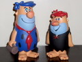 THE FLINTSTONES~FRED(BLUE HAIR) & BARNEY(RED HAIR)~(FUNKO CARTOON CLASSICS)2008 FUNKO FUN DAYS EXCLUSIVE