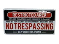 COMMERCIAL PLATE~NO TRESPASSING~
