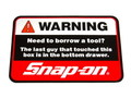 Snap-on OFFICIAL STICKER~WARNING~