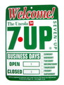 7UP PLASTIC SIGN BOARD~WELCOME~