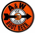 ROUND TIN SIGN~A&W ROOT BEER~