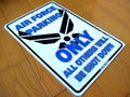 TIN SIGN~U.S. AIR FORCE PARKING ONLY~