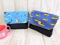 封筒型お弁当袋2点セット(ブルー海×黄色車)